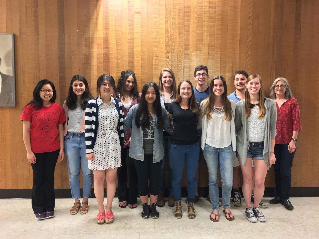 Editorial Board 2016-2017. (Left to Right) Back: Carly, Bukre, Chantele, Madison, Bardia, Nick, Dr. Burgess. Front: Lo, Lauren, Wren, Nicole, Rachel