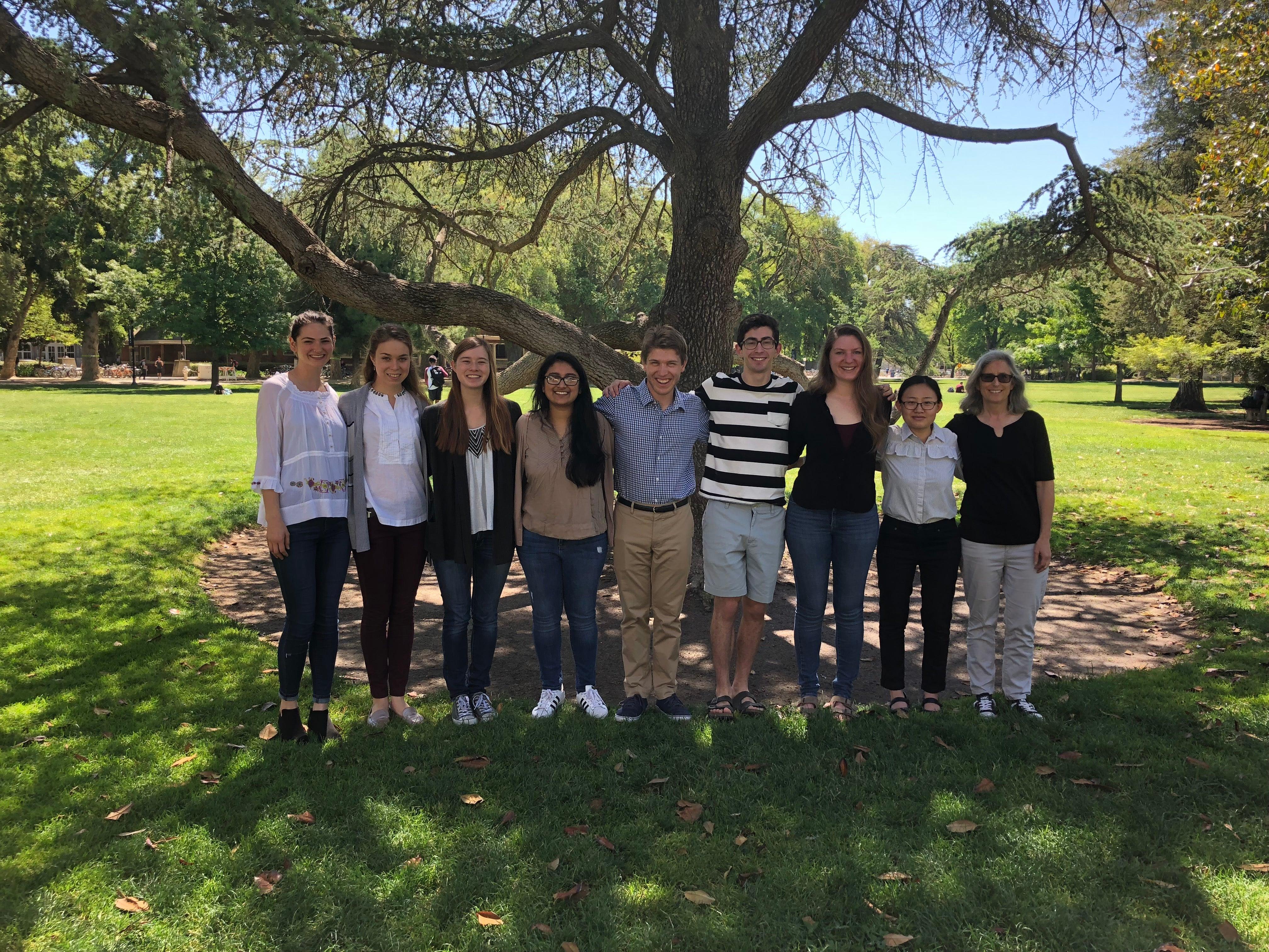 Editorial Board 2017-2018. (Left to Right) Sara, Anna, Rachel, Tannavee, Daniel, Bardia, Madison, Cathy, Dr. Burgess